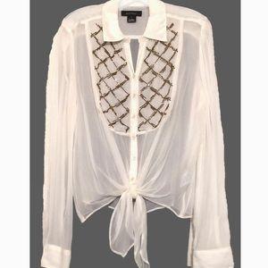 NWT Karen Kane beaded blouse, cream